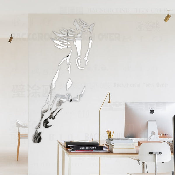 2017 Hot Galloping Horse Acrylic Mirror Wall Stickers Decor Living Room Bedroom Decor TV Backdrop Reflective Wall Mural Art R073