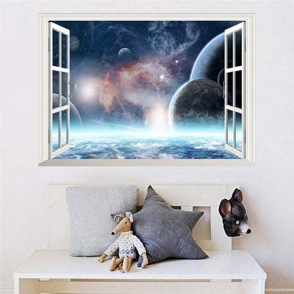 3D Effect Outer Space Planet Wall Sticker Wallpaper 3d Window Scenery Wall Decals for Living Room Bedroom Home Decor Mural