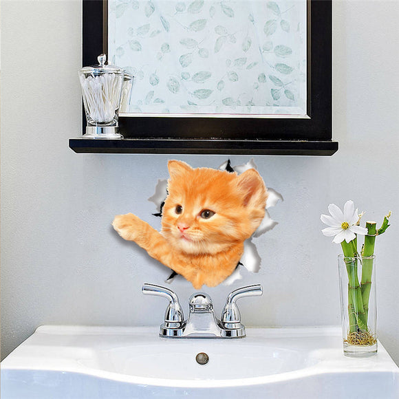 Cats Bathroom Door Decor Wall Sticker Computer Refrigerator Toilet Decoration Wall Decals Art Poster Mural