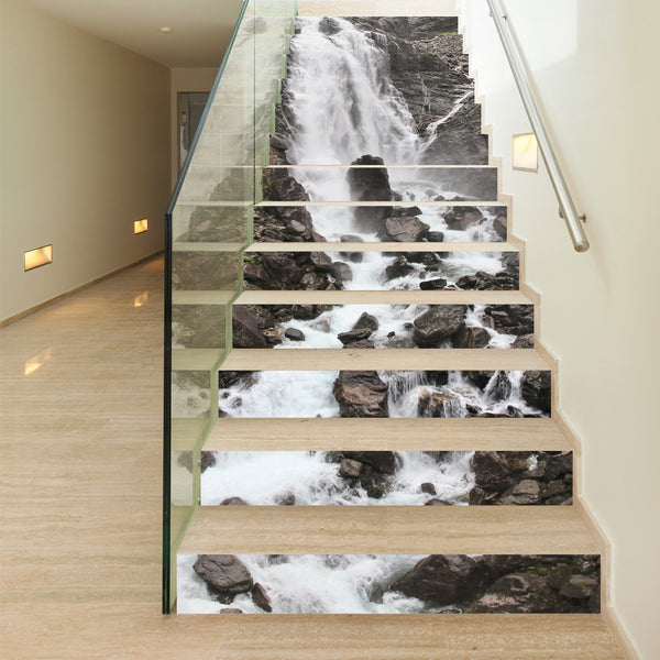 3D Stair Sticker Waterfall 13Pcs/set PVC Decoration Photo Mural Vinyl Decal Poster Waterproof for Living Room Home Decor