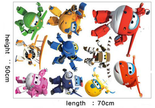 3D Cartoon Super Wings Deformation Airplane Robot Wall Stickers Kids Nursery Room Anime Posters Wall Decal Art Game Decoration