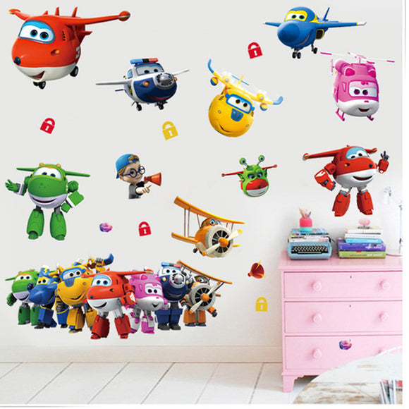 3D cartoon Super Wings Jett airplane PVC Decals Adhesive Wall Stickers Mural Home Decor kids boy bedroom nursery birthday gift