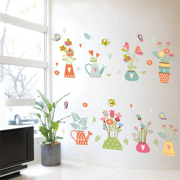 Nature Plant Flower Butterfly Window PVC Wall Sticker Home Decor Decoration Home Wall Decals Sticker