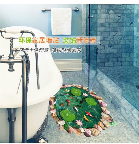 Fish water pool through the floor stickers room decor