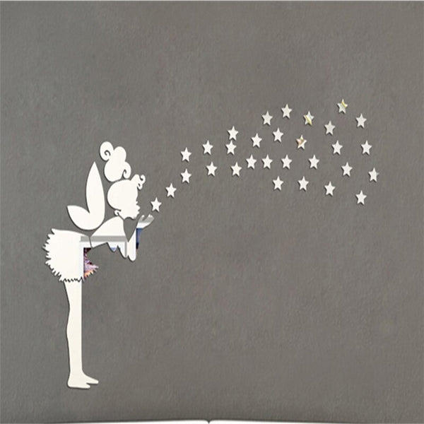 47x30 Mirror wall Stickers Fairy Princess Stars 3D wall stickers for kids Rooms muursticker poster home decor