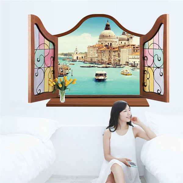 Traditional windows wall stickers living room decor home decal mural art sea tree tower scenery poster