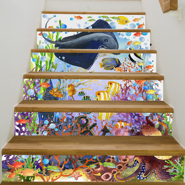 6Pcs/Set 3D Stairway Stickers Room The Underwater World DIY Stairs Stickers Floor Wall Decor Sticker Home Decoration