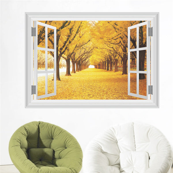 Autumn Landscape View 3D Effect Window Wall Sticker Decals Living Room Bedroom Decor Art Mural decoration Wall Mural Poster