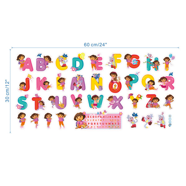 Baby Cartoon Dora children bedroom decor alphabet wall stickers for kids adhesive nursery wall decals poster mural