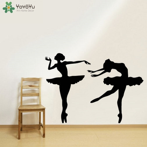 Ballerina Dancer Vinyl Wall Decal Girls Elegant Ballet Wall Stickers For Kids Rooms Gymnastic Studio Art Mural