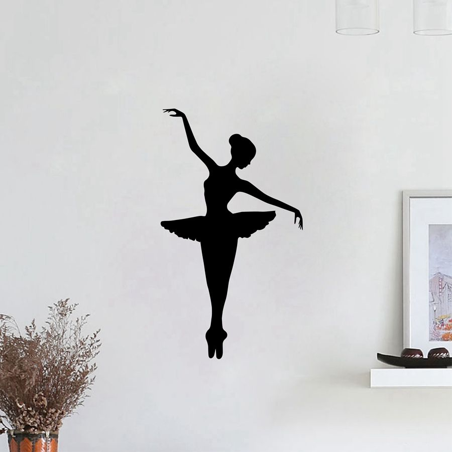 Ballerina Vinyl Wall Sticker Removable Vinyl Nursery Kids Bedroom Wall Decal Girl Dancer Dancing Ballet Graphic Wall Mural