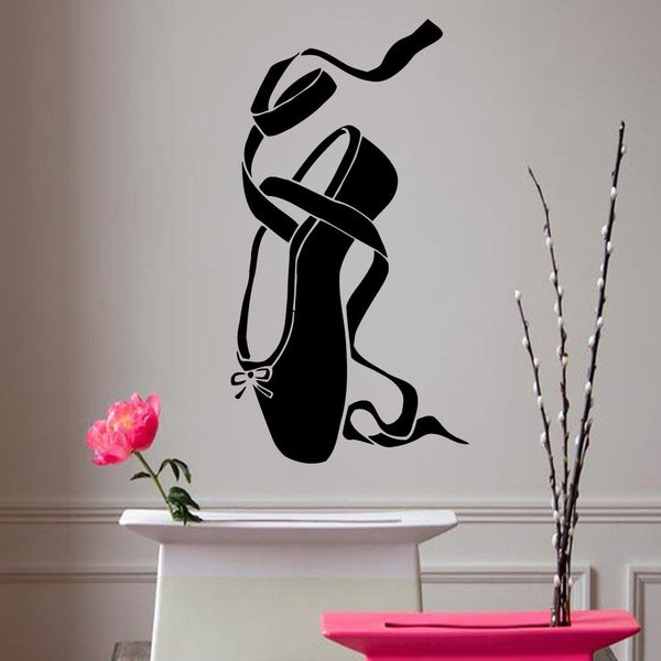 Ballet Vinyl Sticker Girl Pointes Ballet Shoe Wall Stickers Removable Ballerina Dance Wall Decal Kids Room Decor Mural AY552