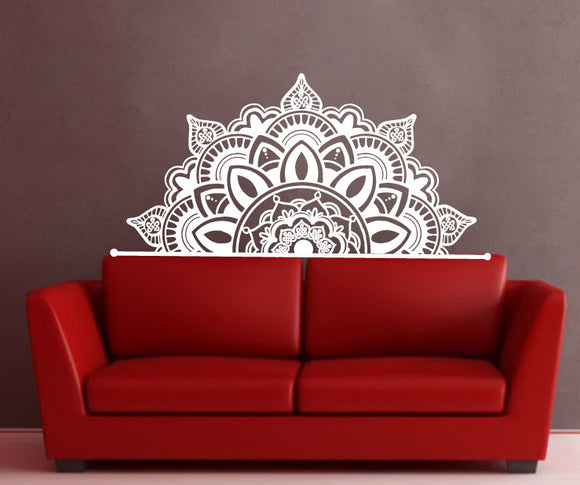 Bohemian Half Mandala Wall Decals Headboard Master Bedroom Vinyl Wall Sticker Yoga Studio Namaste Interior Home Art Mural