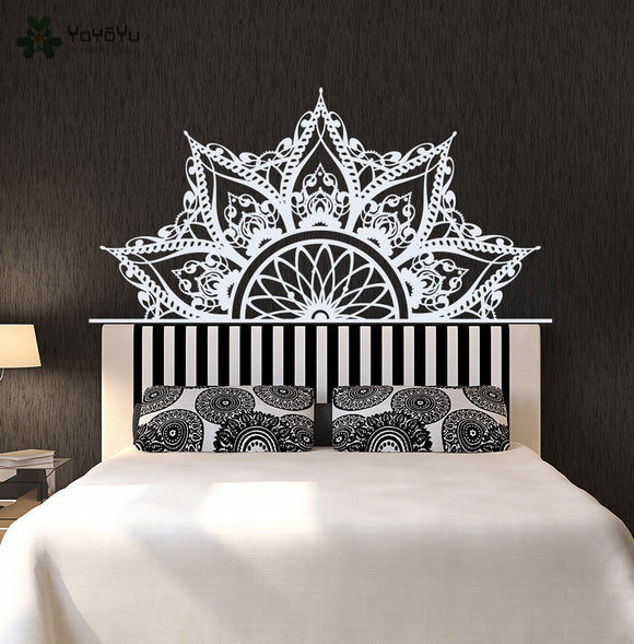 Bohemian Mandala Flower Bed Decoration Accessories Wall Decal PVC Bedroom Vinyl Lotus Adhesive Beautiful DIY Wall Sticker