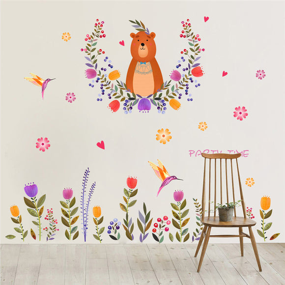 Cartoon Bear Flower Wall Stickers For Kids Rooms Kindergarten Nursery Baby Children Room Decor Wall Decal Art Mural