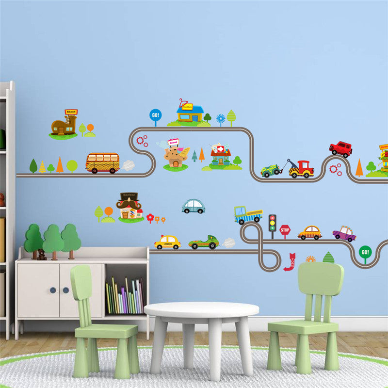 Cartoon Car Bus Highway Track Wall Stickers For Kids Rooms Children\'s  Bedroom Living Room Decor Wall Art Decals Boy\'s Gift