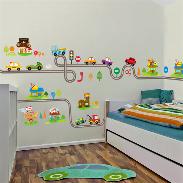 Cartoon Car Bus Highway Track Wall Stickers For Kids Rooms Children's Bedroom Living Room Decor Wall Art Decals Boy's Gift