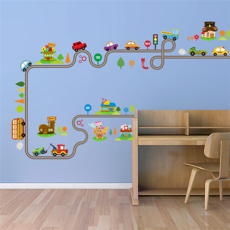 Cartoon Car Bus Highway Track Wall Stickers For Kids Rooms