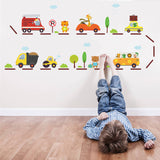Cartoon Car highway wall stickers for kids rooms kindergarten children nursery room decoration on the wall car decals boy's gift