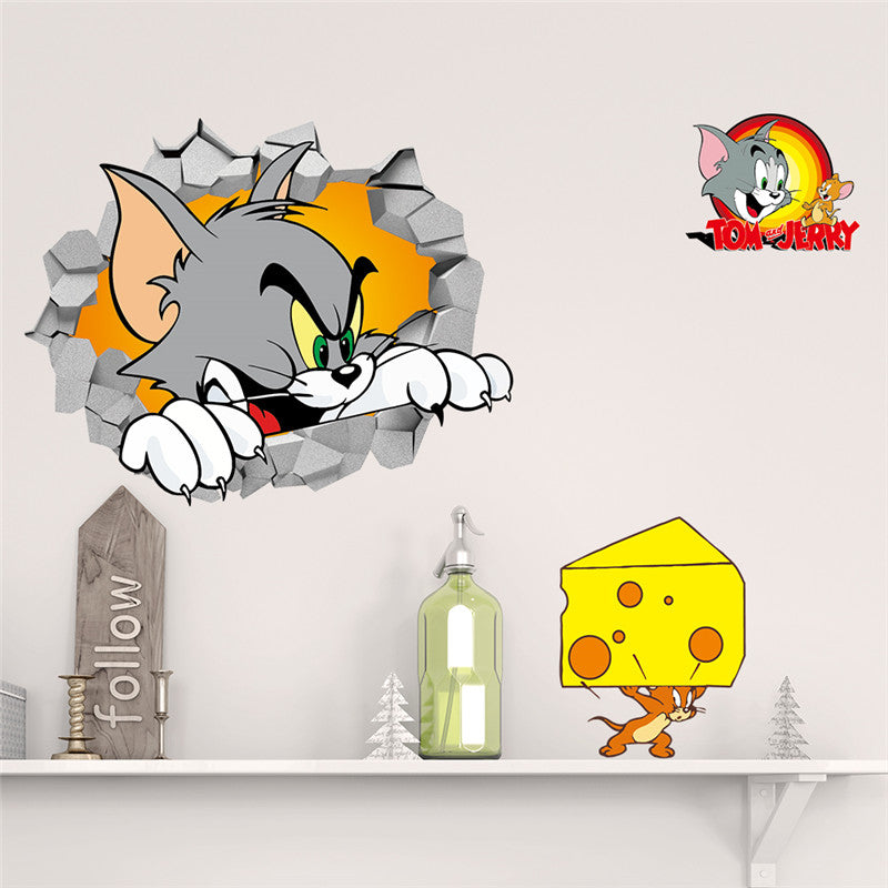 Cartoon Funny Cat Mouse Wall Sticker For Kids Rooms Children S