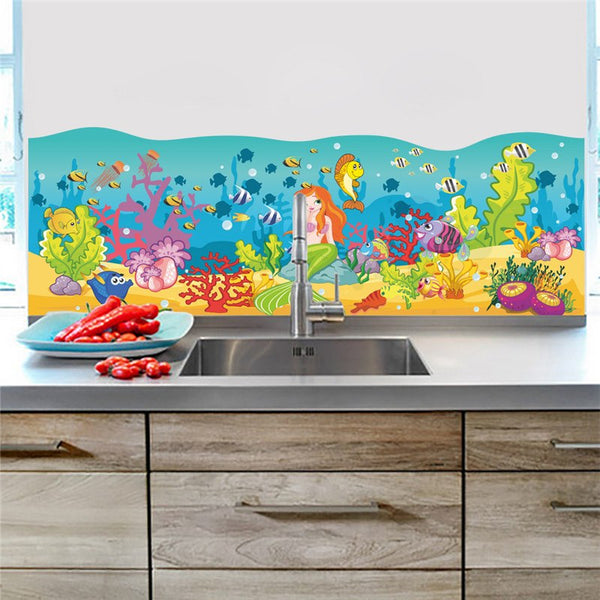 Cartoon Underwater Fish Bubble Wall Stickers For Kids Rooms Wall Decals Nursery Room Bathroom Decor Home Decoration