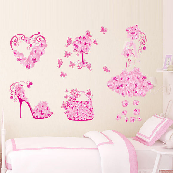 Colorful Flower Girl Bag Shoes Butterflies Wall Stickers Fior Kids Rooms Heart Wall Decals Girl's Bedroom Decor Mural Poster