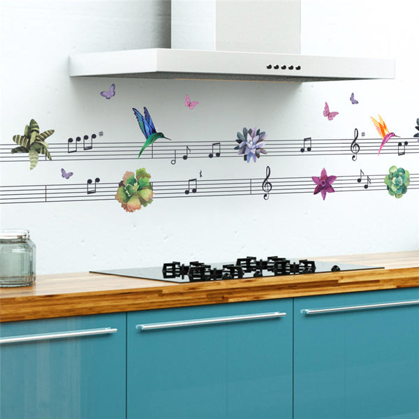 Colorful Musical Notes Flower Flying Birds Wall Stickers Home Decor Decal Art Living Room Bedroom Bathroom Window Decor Mural