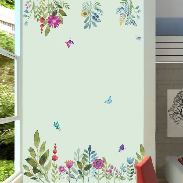 Colorful Spring Flower wall stickers TV Background Sofa Decoration Flying Birds Butterfly Wall Decal
