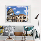 Colosseo Building Wall Sticker Decal 3D Window Home Decor Living Room Bedroom Window Decor Wall Art Poster Mural