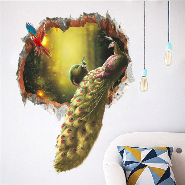 Colourful Peacock Birds Feathers Wall Stickers 3d Vivid Wall Decals