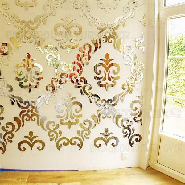 Creative DIY European style luxury carving pattern 3d acrylic mirror wall stickers living room decoration hair salon decor R218