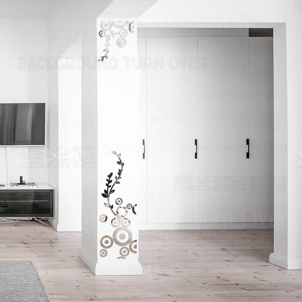 Creative DIY column decorative circle ring rambling vine acrylic mirror wall stickers home decor 3d room decoration decals R230