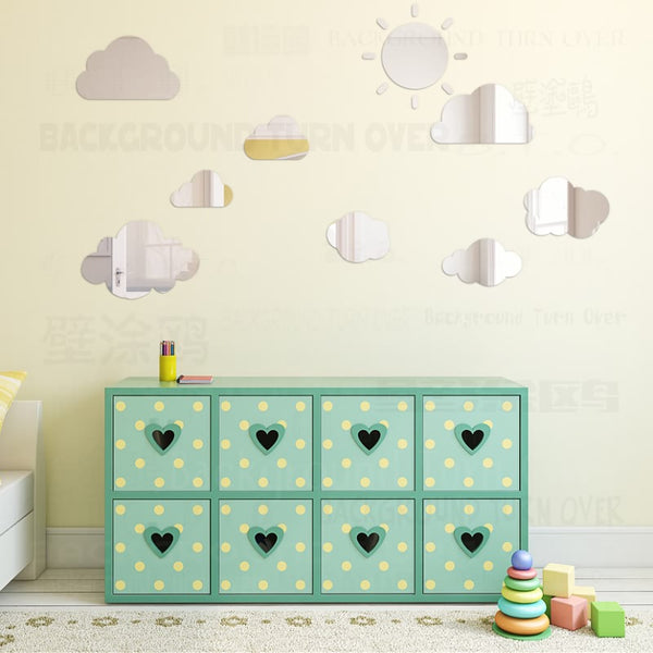 Creative Sunny cloud Acrylic Mirror Wall Stickers Home Door Living Room Bedroom Decor Children Kids Room Decoration Poster R152