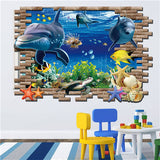 3D Wall Stickers For Kids Rooms Stairs Castle Dinosaur Dolphin 3d sticker home decor wall floor bedroom decoration