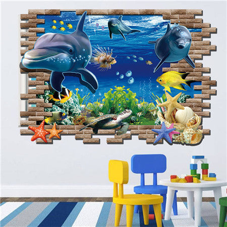 ... 3D Wall Stickers For Kids Rooms Stairs Castle Dinosaur Dolphin 3d  Sticker Home Decor Wall Floor ...