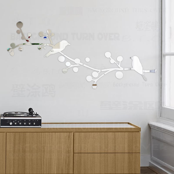 DIY Double Birds Tree 3D Mirror Decorative Wall Sticker Home Salon Decor Bedroom Living Room Decoration Wall Art Poster R212