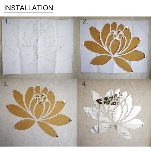 DIY Spring Nature Elegant Lotus Flower Acrylic Mirror Wall Stickers Bedroom Decor Living Room Kitchen Home Decoration Mural R186