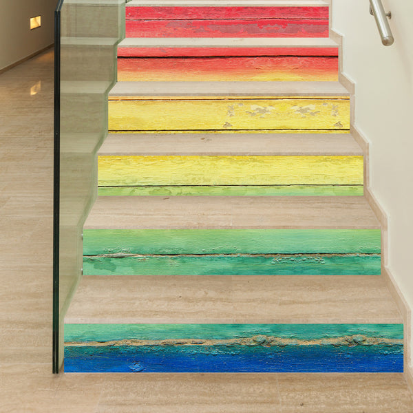 DIY Steps Sticker Removable Stair Sticker Home Decor Ceramic Tiles Patterns Color wood staircase stickers