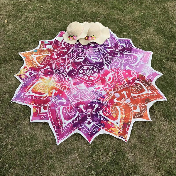 Yoga Round Mat Indian Mandala Tapestry Lotus Mat Yoga Bohemian Flower Printed Shawl Tassel Sunblock Beach Mat