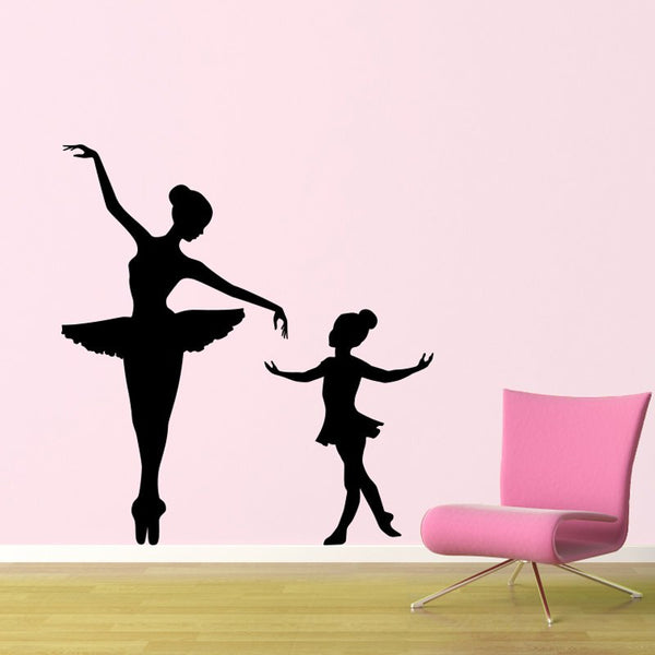 Elegant Big Ballerina Little Ballerina Wall Decal Kids Nursery Girls Room Vinyl Ballet Wall Adhesive Interior Art Mural SYY303