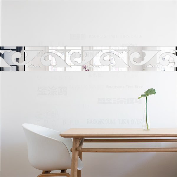 Elegant Scroll Grass Pattern 3d Acrylic Mirror Wall Border Sticker Mural Living Room Bedroom Waist Line Decoration Wall Art R067