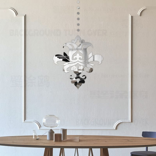 European Chandelier Reflective Decorative Acrylic 3D Mirror Wall Stickers Living Room Bedroom Decor Room Door Decoration R118