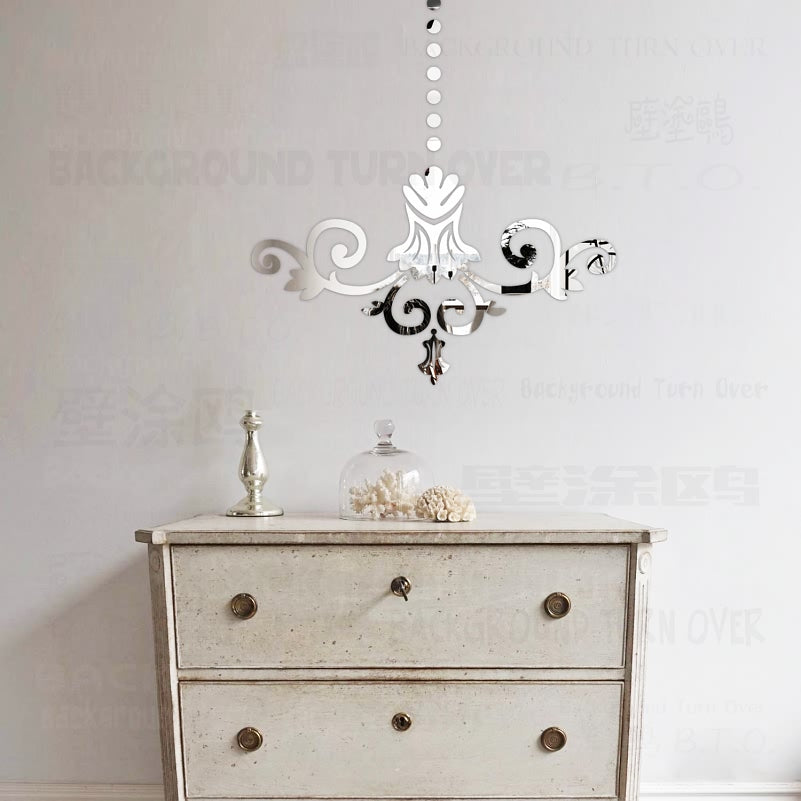 European Style Chandelier Pattern 3d Acrylic Mirror Wall Stickers room Home Decor Living Room Bedroom Decoration Wall Mural R013