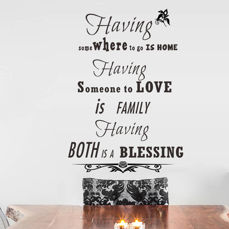 Family Love Blessing Quotes Home Decor Vinyl Wall Stickers Bedroom Living Room Wall Decals Home Decoration