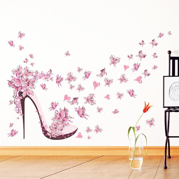 Fashion High Heel Shoes Flying Butterflies Heart Flower Wall Sticker PVC Decals Home Decor Girl's Room Decor Poster