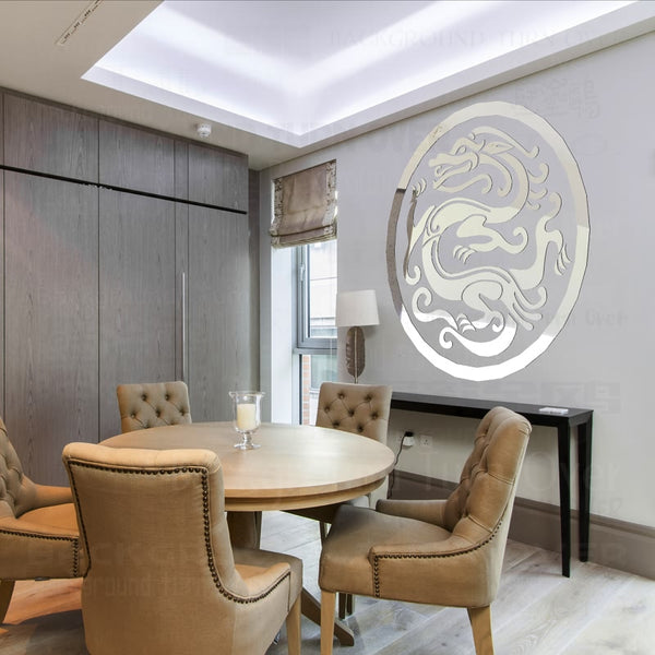 Fashion creative traditional Chinese dragon mirror wall stickers for living room dining room decoration R217