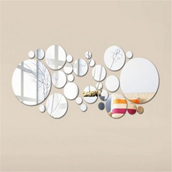 Fashion decoration  Circles Mirror Style Removable Decal Vinyl Art Wall Sticker DIY