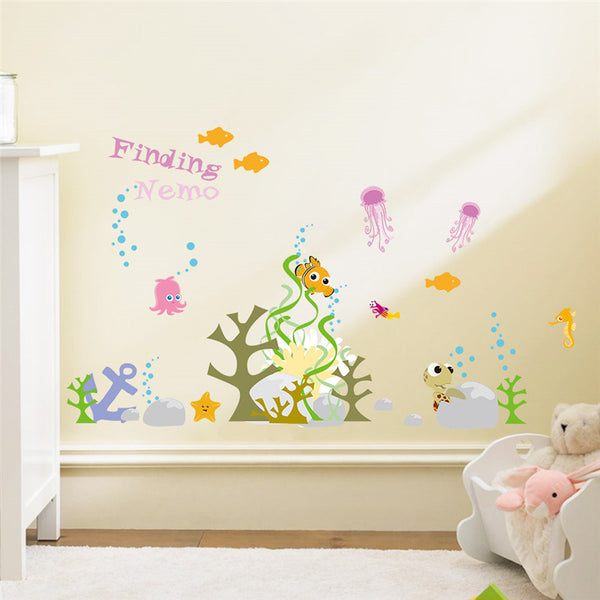 Finding Nemo Underwater World Fish Bubble Seaweed Wall Stickers Room Decor