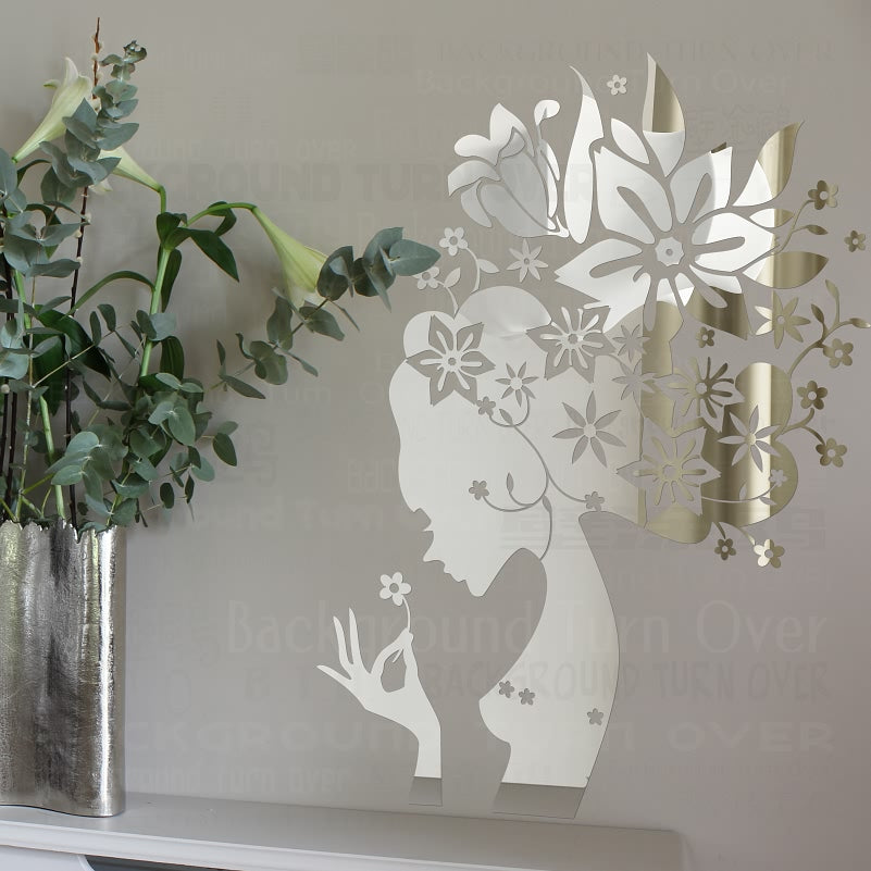 Floral Fairy Decorative 3D Acrylic Mirror Wall Sticker Living Room Home Bedroom Decor Kids Girls Room Tile Door Decoration R191