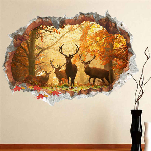 Forest Deer Wall Stickers 3D Vivi Effect d Wall Decals Poster Mural Living Room Bedroom Home Decor Christmas Decoration